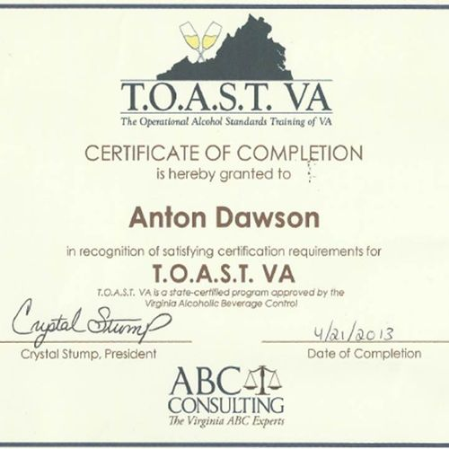ABC-Certified in the State of Virginia.  We got the DMV covered!