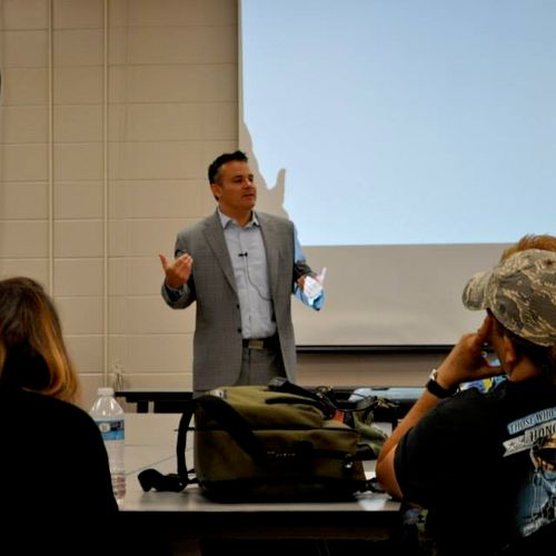 Bus Accident Attorney Josh Myers speaks at back to school safety seminar.