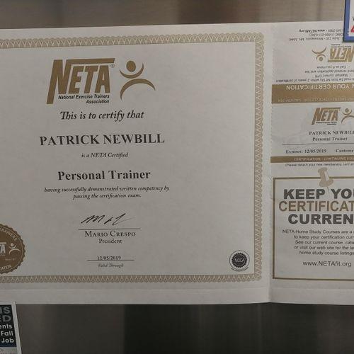 NETA Certificate