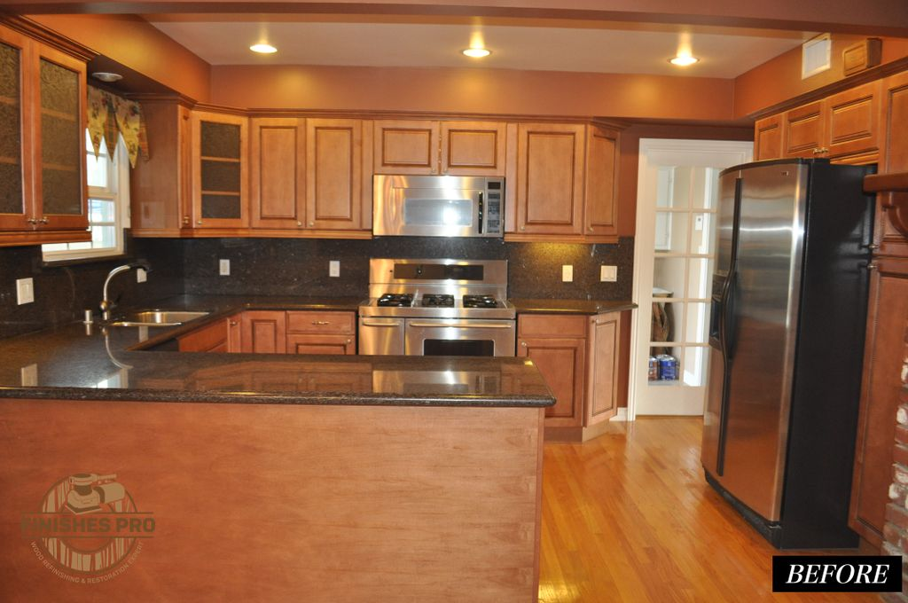MAPLE OUTDATED GLAZED CABINETRY TO MODERN