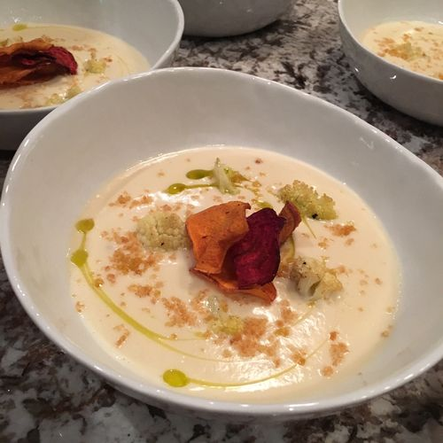 Creamy Cauliflower Soup with Beet and Sweet Potato Chips