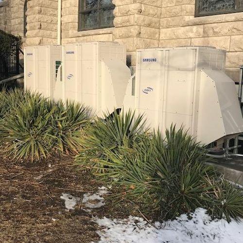Samsung 2# 16 ton & 1# 14 ton heat recovery units in a church at 40th & main Kansas City, MO