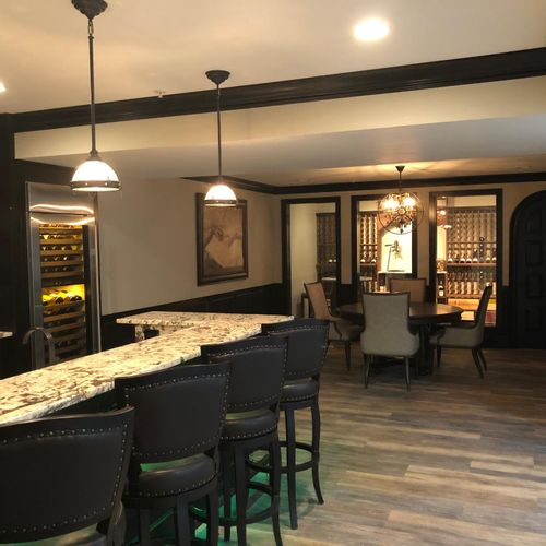 Wine room off the bar makes this the perfect entertaining area
