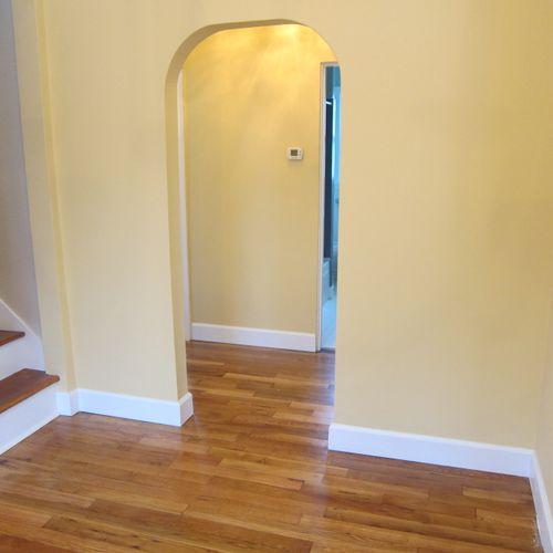 Refinished original hardwood floors & Stairs, repaired plaster walls, add paint & Trim work