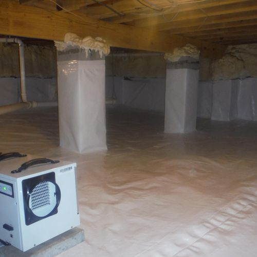 After - Dehumidifier installed in crawl space to prevent the return of mold spores