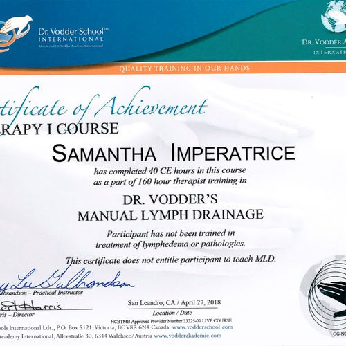 80 hours of Manual Lymphatic Drainage training (this is a 2nd level course) completed, qualified to work on pre and post-operative clients.