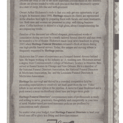 Heritage Funeral Directors' corporate biography turned into  newspaper advertisement. New Orleans, La.