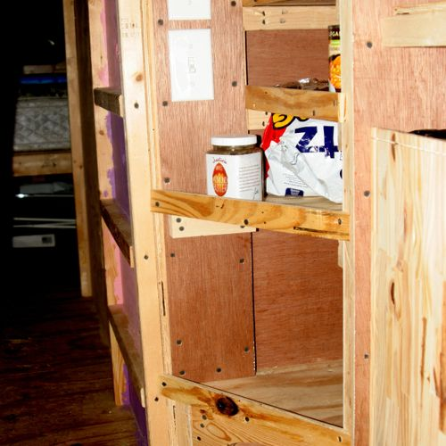 Deep and efficient pantry for school bus conversion project.