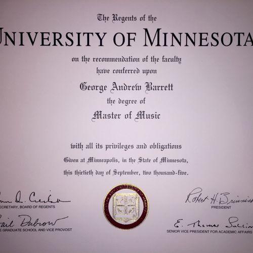 University of Minnesota Masters