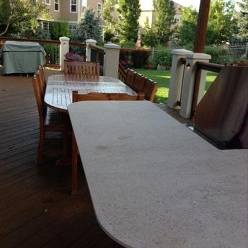 Outdoor living space wood staining restoration