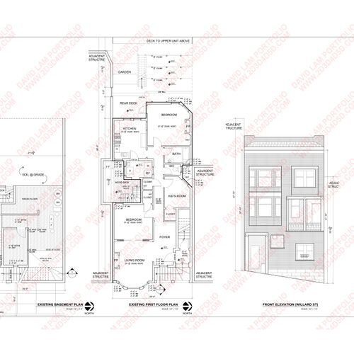 As-built drawing: exterior elevation, floor plan