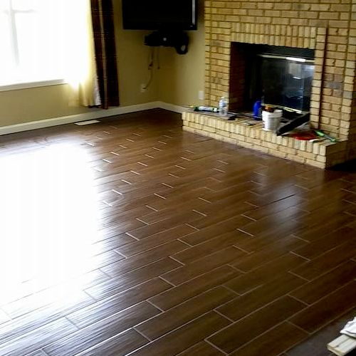 Wendy's wood-look porcelain plank tile from Home Depot's Marazzi line.