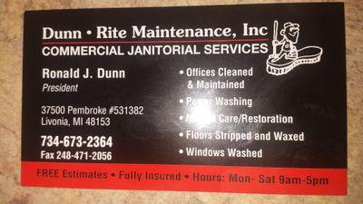 Avatar for Dunn-Rite Maintenance Inc. Livonia, MI Thumbtack
