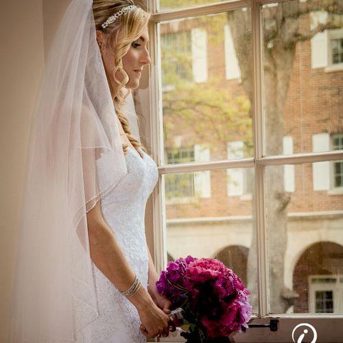 Bride in Window of Kalamazoo College Chapel