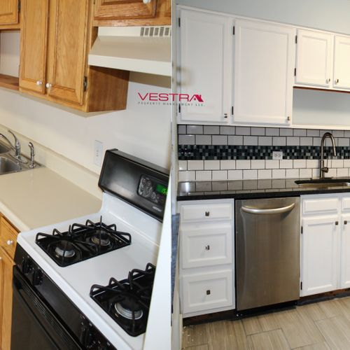 BEFORE/AFTER OF A KITCHEN REMODEL VESTRA DESIGNED WHICH INCREASED RENTAL AMOUNT BY $800/MO AND COST LESS THAN $6K