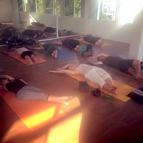 Yin yoga class on Yoga & Fitness retreat in Mexico.