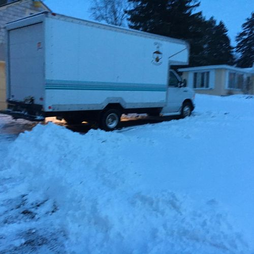 This is our vehicle, it's a 15' box with a 3' overhang.