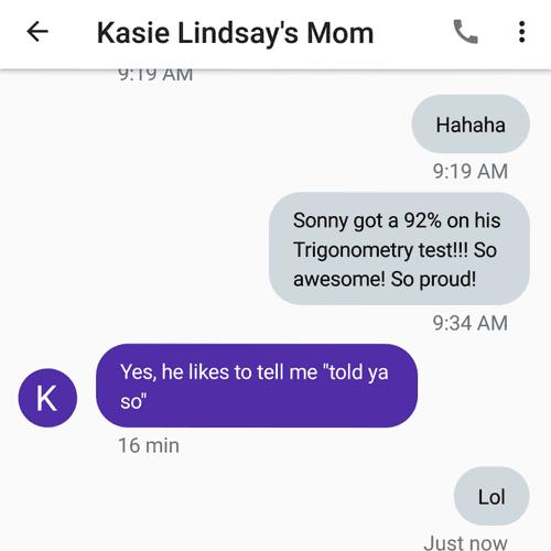 92% on a Trigonometry test