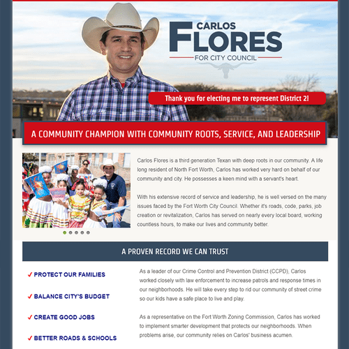 Website design for Carlos Flores for City Council campaign