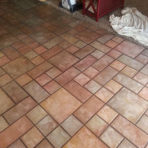 Floor during cleaning