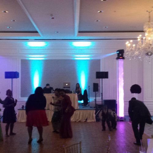 Wedding reception at Ritz Carlton Amelia Island - FL  24 Programed LED up-lights and 2 Moving heads