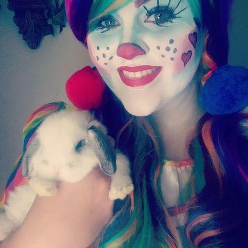 clown with bunny rabbit