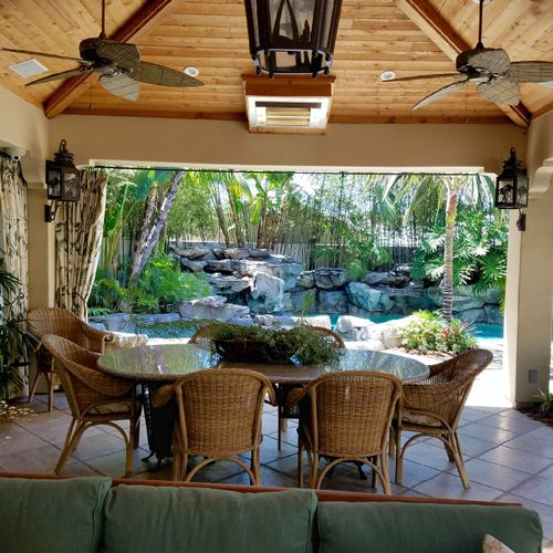 Patio Cover and Water features in pool built by DC Landscape.