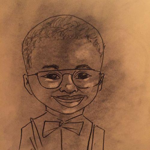 Dashing caricature of a dashing little guy!