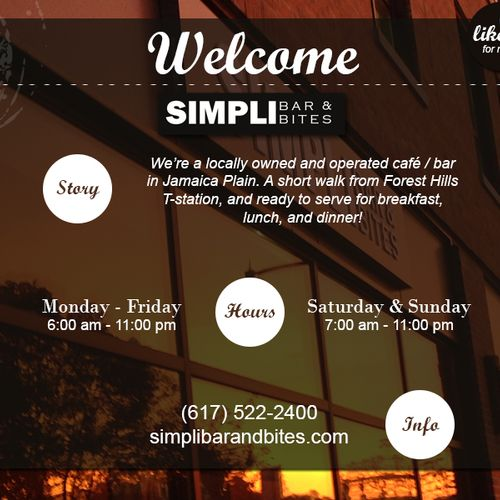 Splash page for Facebook page of Simpli Bar & Bites in Jamaica Plain, MA