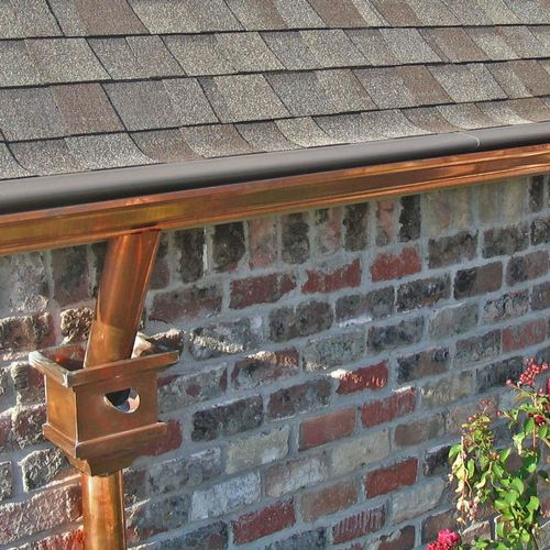 Copper Guttering with Collector Head and Leaf Shield Lifetime Gutter Protection