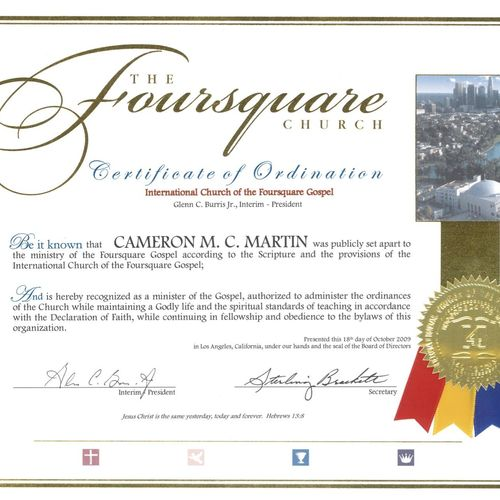 I am ordained by The Foursquare Church and have served as a pastor in a local church since 2004.