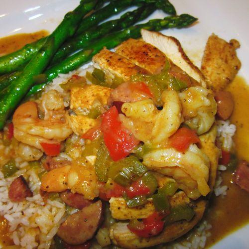 Grilled Chicken w/Louisiana Gumbo
