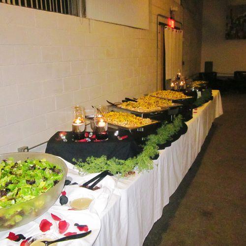 Buffet setup at Lofty Spaces
