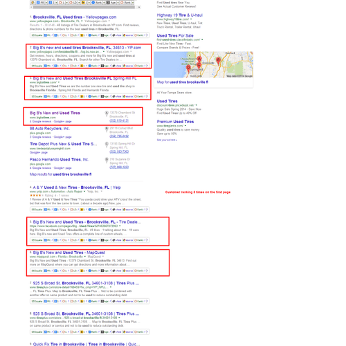 Ranked tire  business and all supporting pages on the first page of Google for their keyword.