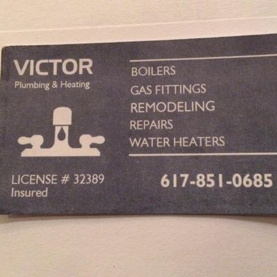 Avatar for Victor plumbing &heating Wakefield, MA Thumbtack