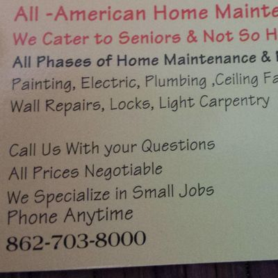 Avatar for All-American Home Maintenance and Repairs LLC Belleville, NJ Thumbtack