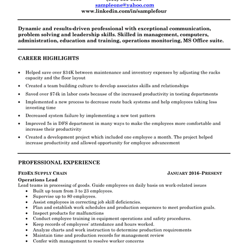 Sample 1 Final: Cleaned up format, improved Summary, added Career Highlights