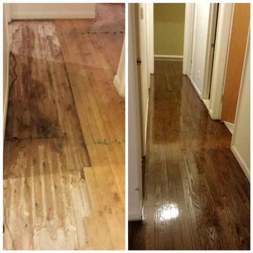 Ann Arbor- Red Oak, water damage repair before-and-after, stain and refinishing.