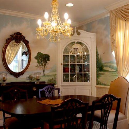 Dining room landscape mural.