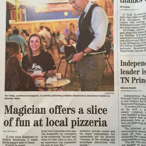 Recent article in the Tennessean about me performing magic