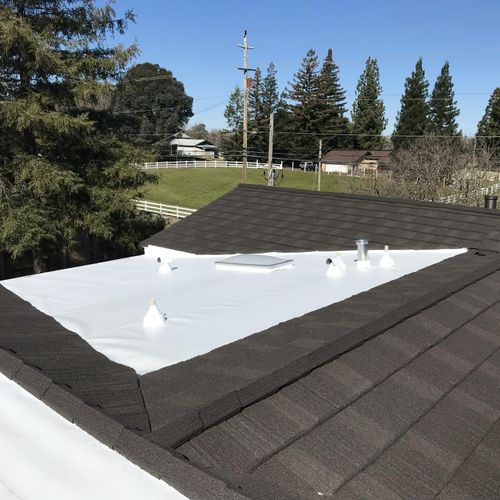 Decra shake , and a TPO product!  for flat roofing.