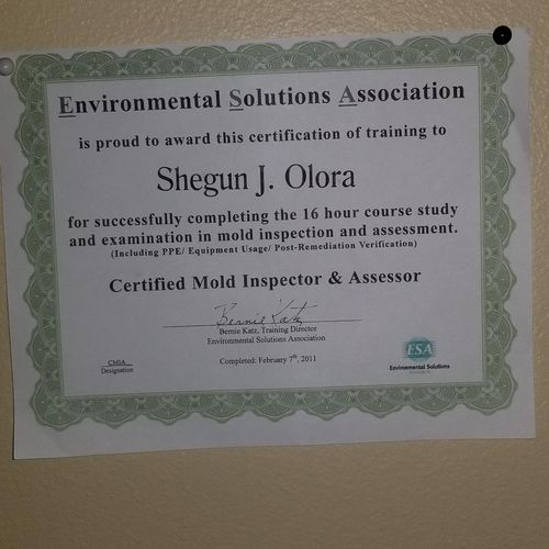 CERTIFIED MOLD INSPECTOR AND ASSESSOR CERTIFICATION