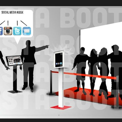 Our Insta booth station with Media upload, red carpet and stanchions