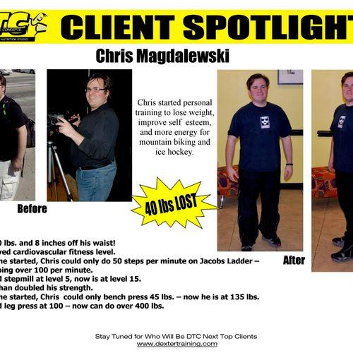 Chris lost 40lbs