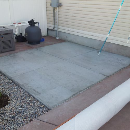 New concrete pad install.