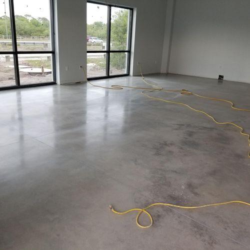 polished concrete at hair salon & spa