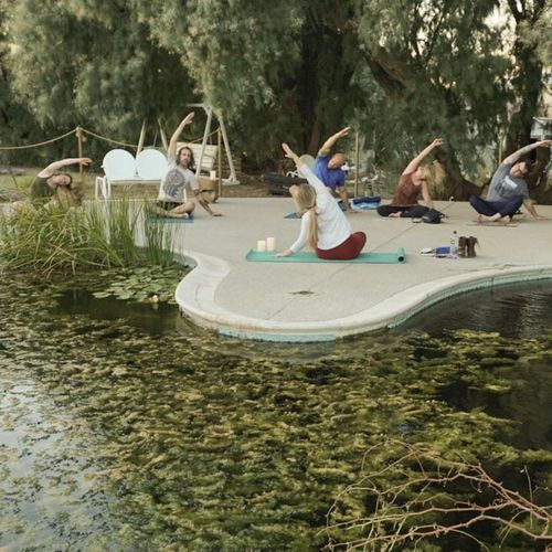 Yoga by the pond at MONA