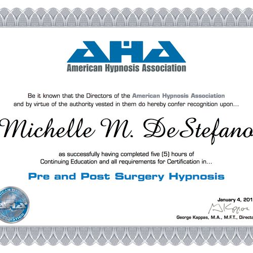 Pre and Post Surgery Certification
