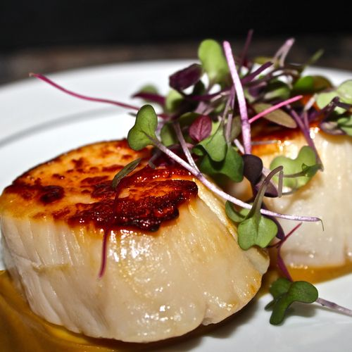 Seared Jumbo Sea Scallop with Roasted Chestnut and Bacon Puree