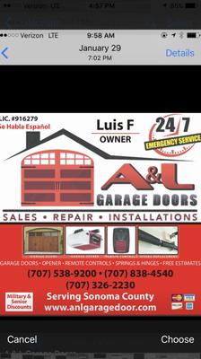 A&L GARAGE DOORS Windsor, CA Thumbtack